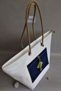 sac-de-plage IROISE L blanc bleu-marine