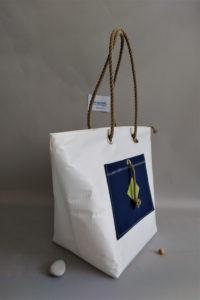 sac-de-plage IROISE L blanc bleu-marine profil
