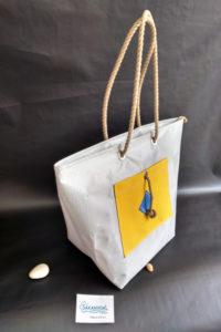 sac-de-plage IROISE L gris jaune profil