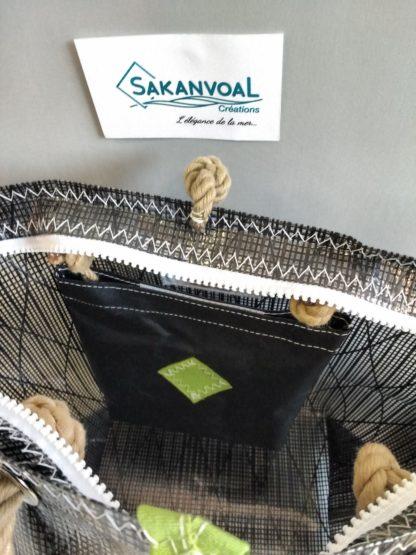 Intérieur avec poche Sac à main laminé noir Sakanvoal Créations