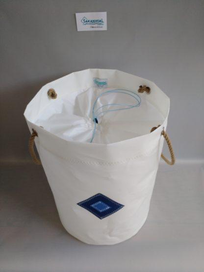 Sac à linge VOILE DE BATEAU ou rangement WEDDEL blanc bleu 2 Sakanvoal Créations