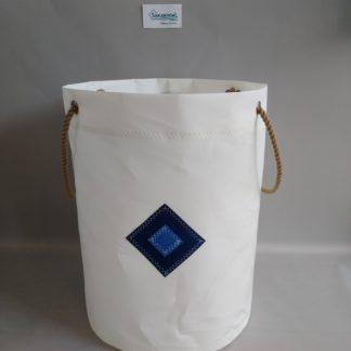 Sac à linge VOILE DE BATEAU ou rangement WEDDEL blanc bleu Sakanvoal Créations